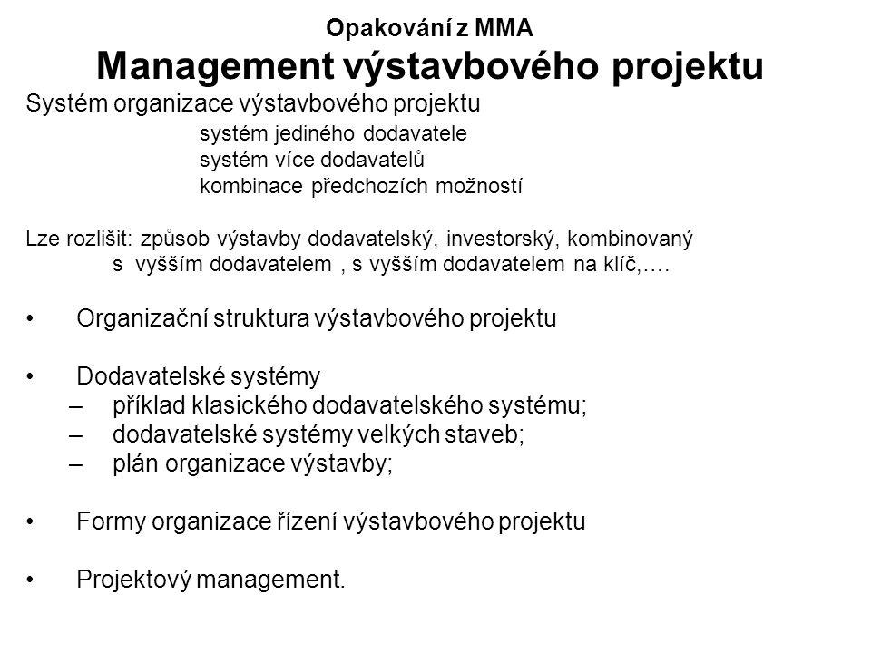 Opakování z MMA Management výstavbového projektu Systém organizace výstavbového projektu systém jediného dodavatele systém více dodavatelů kombinace předchozích možností Lze rozlišit: způsob výstavby dodavatelský, investorský, kombinovaný s vyšším dodavatelem, s vyšším dodavatelem na klíč,….