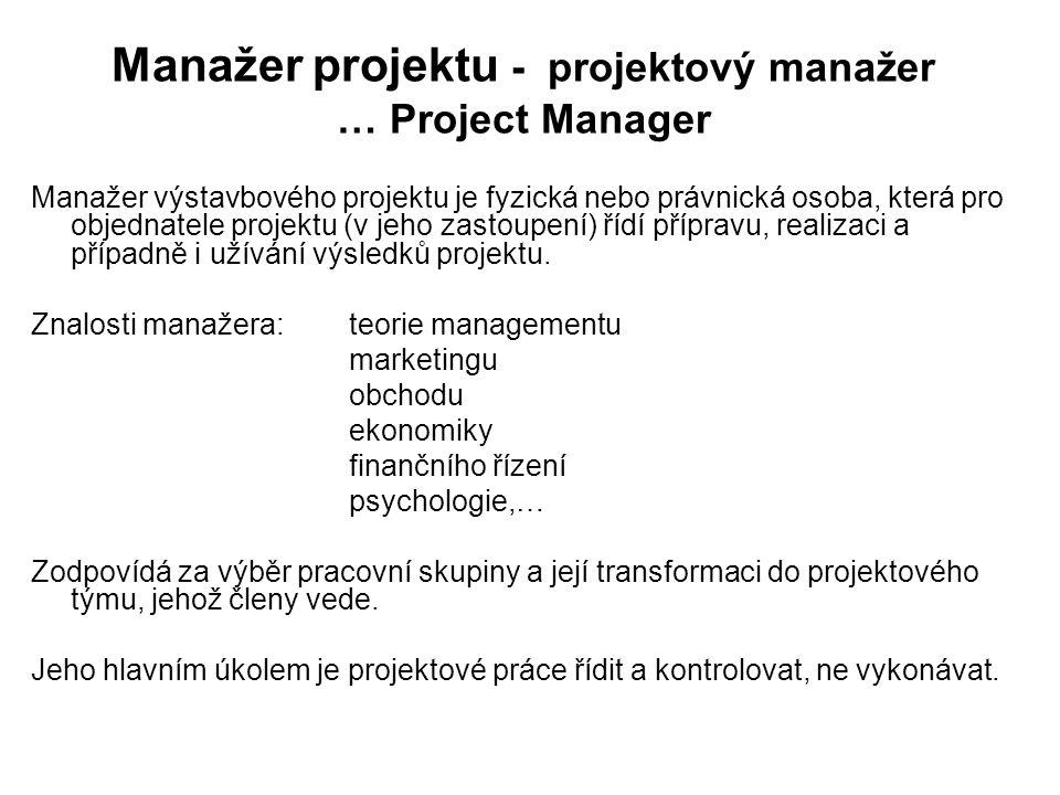 Manažer projektu - projektový manažer … Project Manager Manažer výstavbového projektu je fyzická nebo právnická osoba, která pro objednatele projektu (v jeho zastoupení) řídí přípravu, realizaci a případně i užívání výsledků projektu.