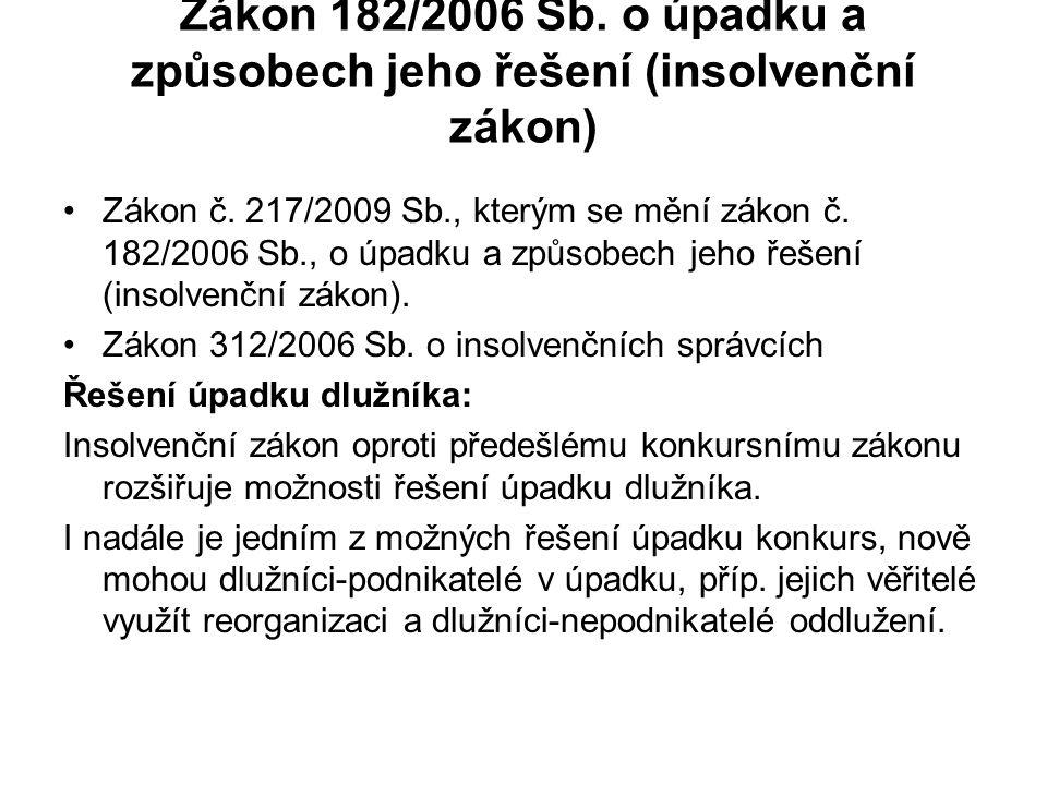 Zákon 182/2006 Sb.o úpadku a způsobech jeho řešení (insolvenční zákon) Zákon č.