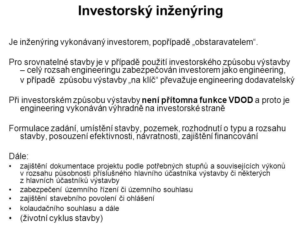 """Investorský inženýring Je inženýring vykonávaný investorem, popřípadě """"obstaravatelem ."""