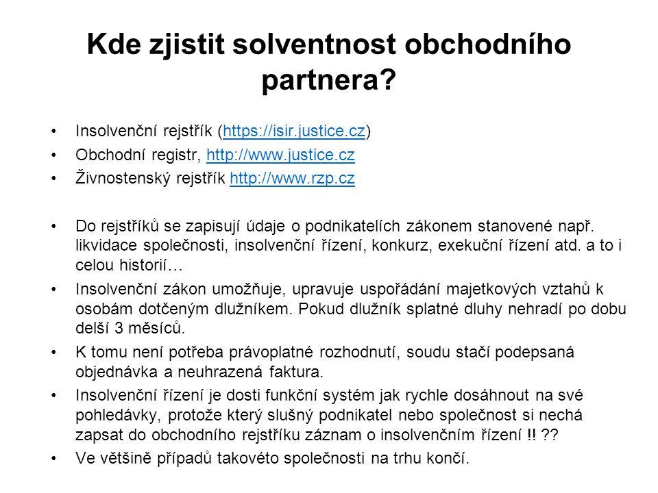 Kde zjistit solventnost obchodního partnera.