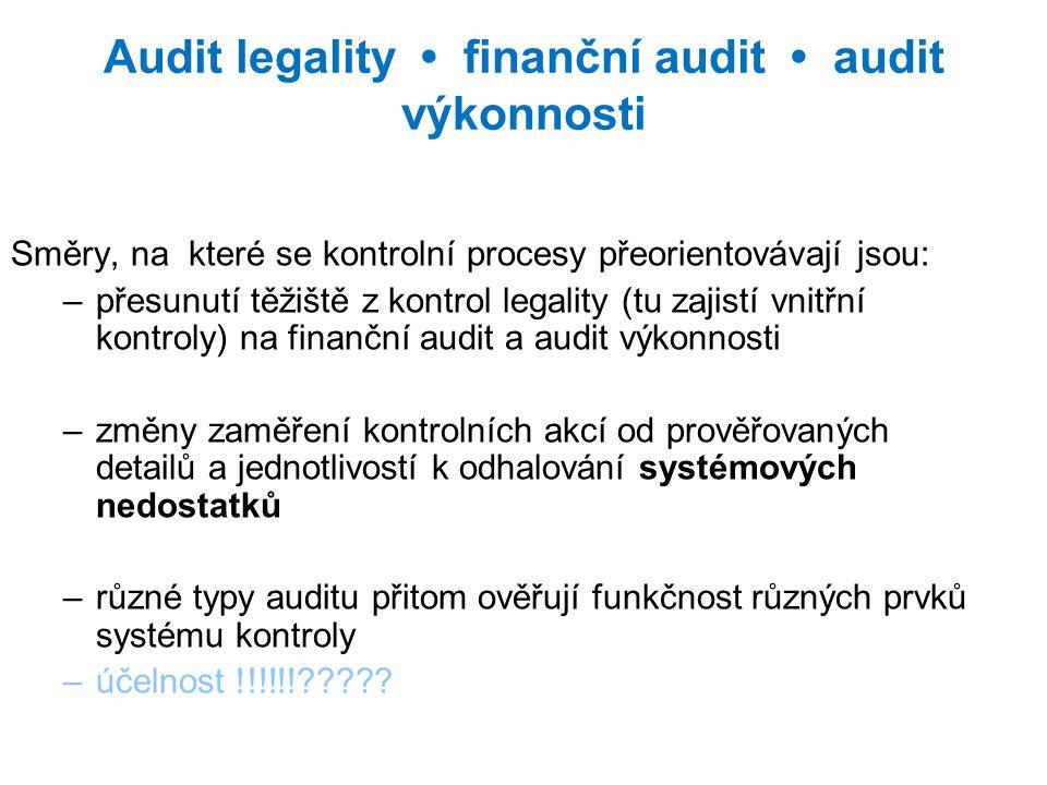 Audit legality finanční audit audit výkonnosti Směry, na které se kontrolní procesy přeorientovávají jsou: –přesunutí těžiště z kontrol legality (tu zajistí vnitřní kontroly) na finanční audit a audit výkonnosti –změny zaměření kontrolních akcí od prověřovaných detailů a jednotlivostí k odhalování systémových nedostatků –různé typy auditu přitom ověřují funkčnost různých prvků systému kontroly –účelnost !!!!!!?????