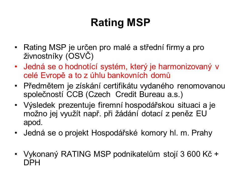 Rating MSP Rating MSP je určen pro malé a střední firmy a pro živnostníky (OSVČ) Jedná se o hodnotící systém, který je harmonizovaný v celé Evropě a to z úhlu bankovních domů Předmětem je získání certifikátu vydaného renomovanou společností CCB (Czech Credit Bureau a.s.) Výsledek prezentuje firemní hospodářskou situaci a je možno jej využít např.