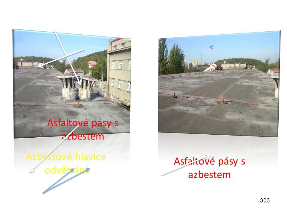 303 Asfaltové pásy s azbestem Azbestové hlavice odvětrání