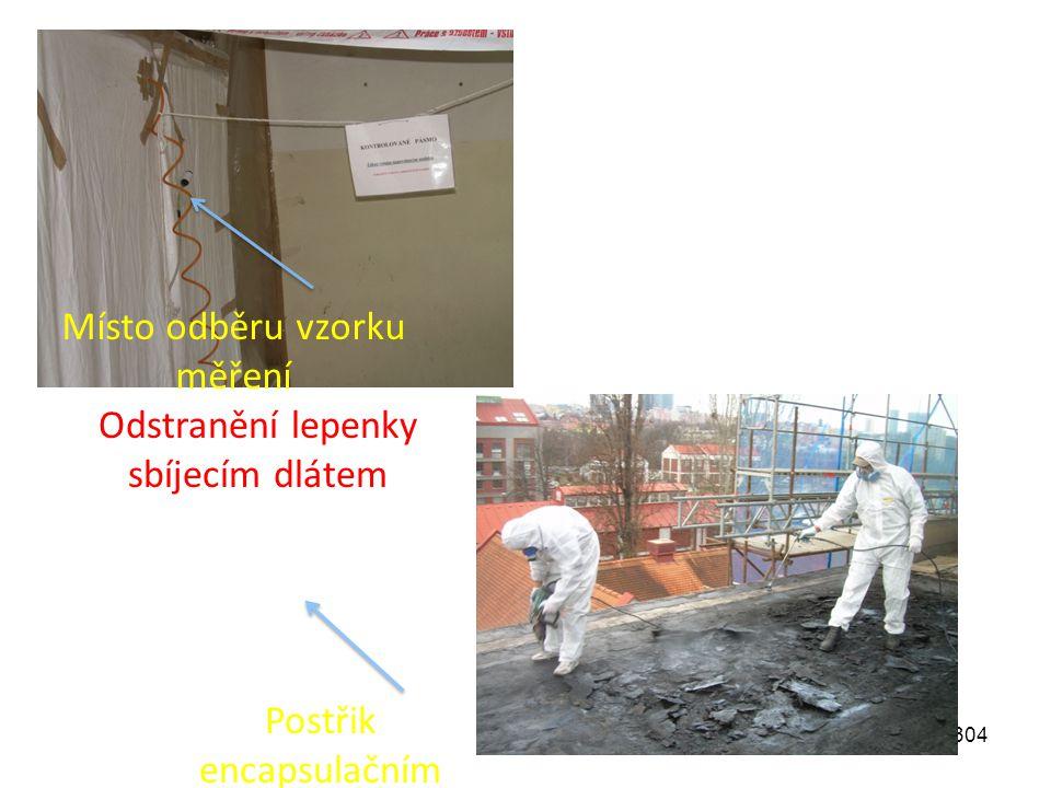 304 Místo odběru vzorku měření Odstranění lepenky sbíjecím dlátem Postřik encapsulačním přípravkem
