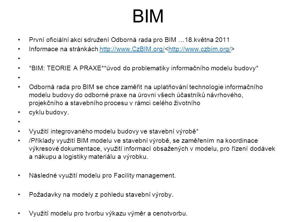 BIM První oficiální akci sdružení Odborná rada pro BIM …18.května 2011 Informace na stránkách http://www.CzBIM.org/ http://www.CzBIM.org/http://www.czbim.org/ *BIM: TEORIE A PRAXE**úvod do problematiky informačního modelu budovy* Odborná rada pro BIM se chce zaměřit na uplatňování technologie informačního modelu budovy do odborné praxe na úrovni všech účastníků návrhového, projekčního a stavebního procesu v rámci celého životního cyklu budovy.