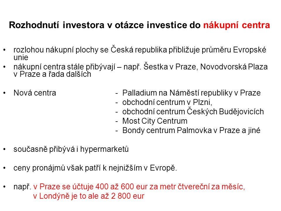Rozhodnutí investora v otázce investice do nákupní centra rozlohou nákupní plochy se Česká republika přibližuje průměru Evropské unie nákupní centra stále přibývají – např.