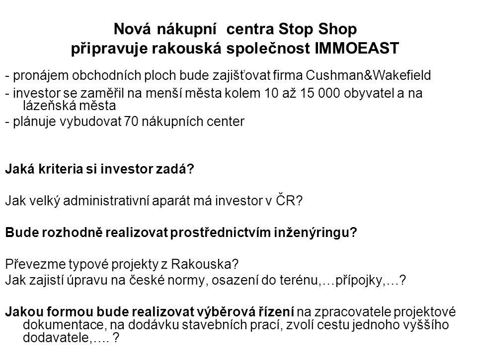 Nová nákupní centra Stop Shop připravuje rakouská společnost IMMOEAST - pronájem obchodních ploch bude zajišťovat firma Cushman&Wakefield - investor se zaměřil na menší města kolem 10 až 15 000 obyvatel a na lázeňská města - plánuje vybudovat 70 nákupních center Jaká kriteria si investor zadá.