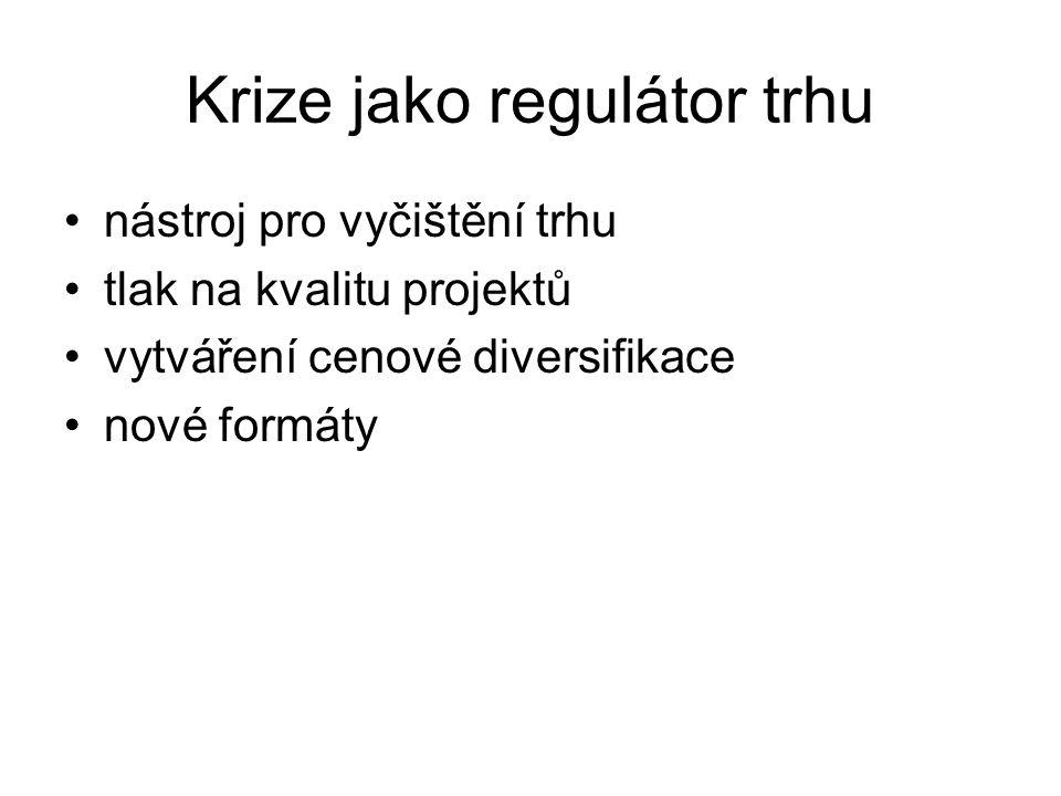 Krize jako regulátor trhu nástroj pro vyčištění trhu tlak na kvalitu projektů vytváření cenové diversifikace nové formáty
