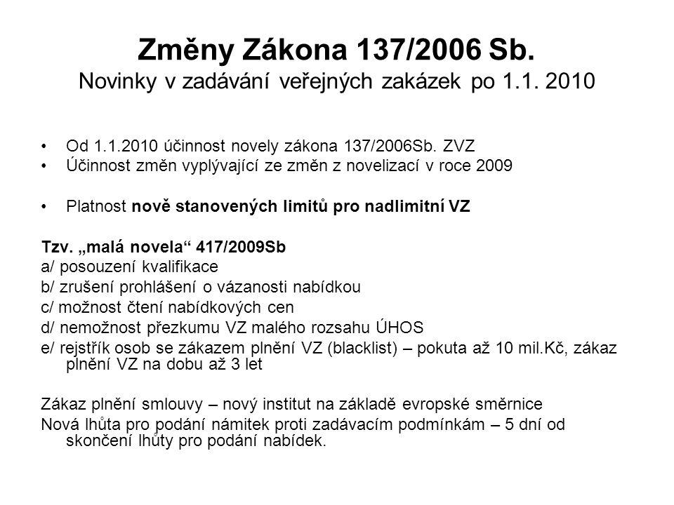Změny Zákona 137/2006 Sb.Novinky v zadávání veřejných zakázek po 1.1.