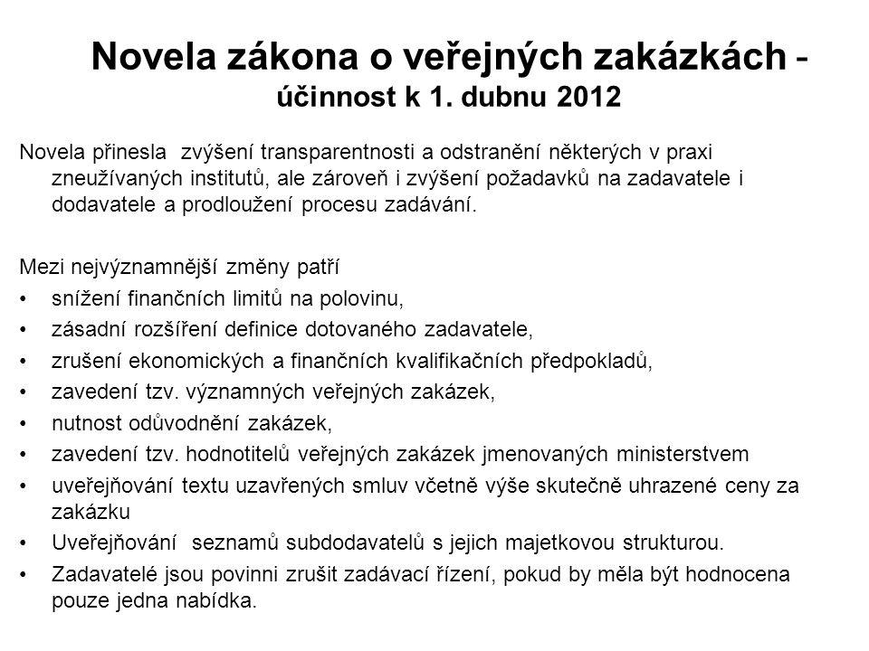 Novela zákona o veřejných zakázkách - účinnost k 1.