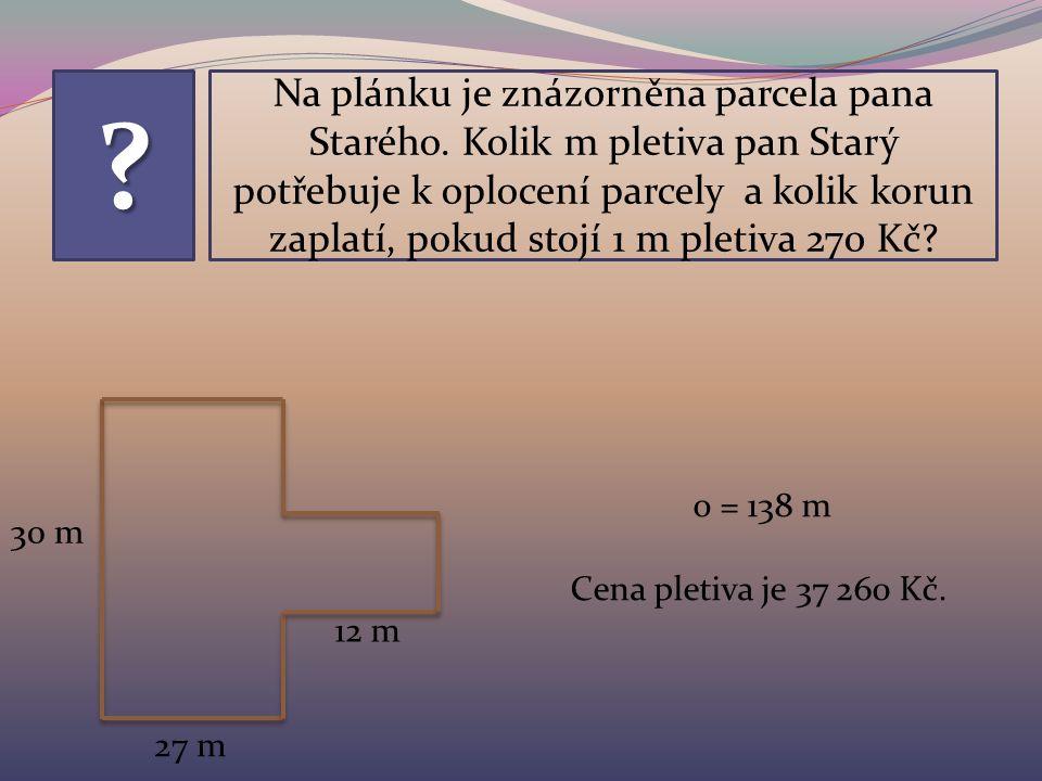 Na plánku je znázorněna parcela pana Starého.