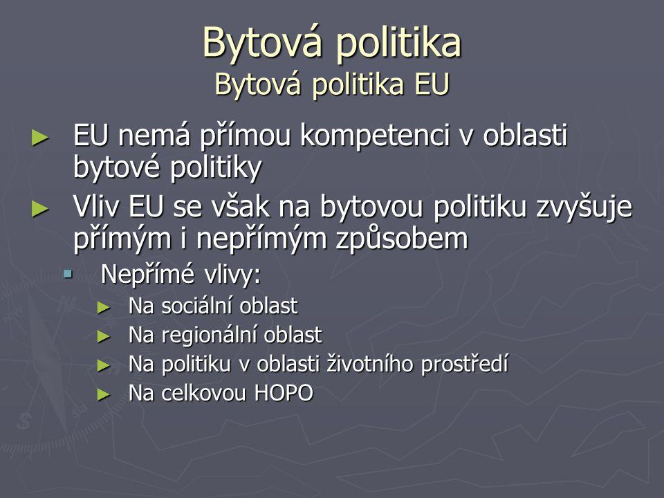 Bytová politika Bytová politika EU ► EU nemá přímou kompetenci v oblasti bytové politiky ► Vliv EU se však na bytovou politiku zvyšuje přímým i nepřím