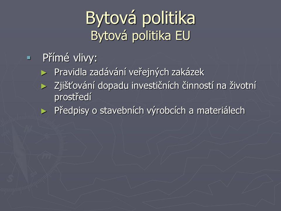 Bytová politika Bytová politika EU  Přímé vlivy: ► Pravidla zadávání veřejných zakázek ► Zjišťování dopadu investičních činností na životní prostředí