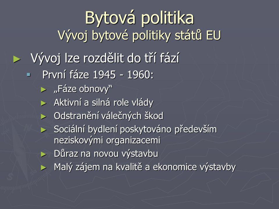 """Bytová politika Vývoj bytové politiky států EU ► Vývoj lze rozdělit do tří fází  První fáze 1945 - 1960: ► """"Fáze obnovy"""" ► Aktivní a silná role vlády"""