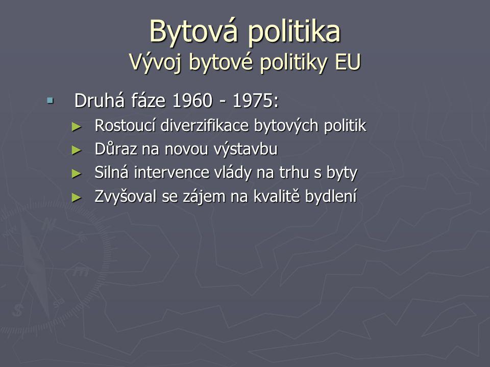 Bytová politika Vývoj bytové politiky EU  Druhá fáze 1960 - 1975: ► Rostoucí diverzifikace bytových politik ► Důraz na novou výstavbu ► Silná interve