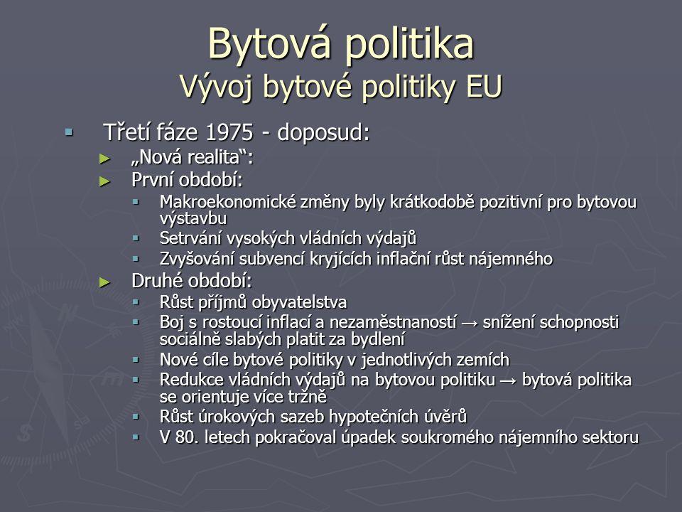 """Bytová politika Vývoj bytové politiky EU  Třetí fáze 1975 - doposud: ► """"Nová realita"""": ► První období:  Makroekonomické změny byly krátkodobě poziti"""