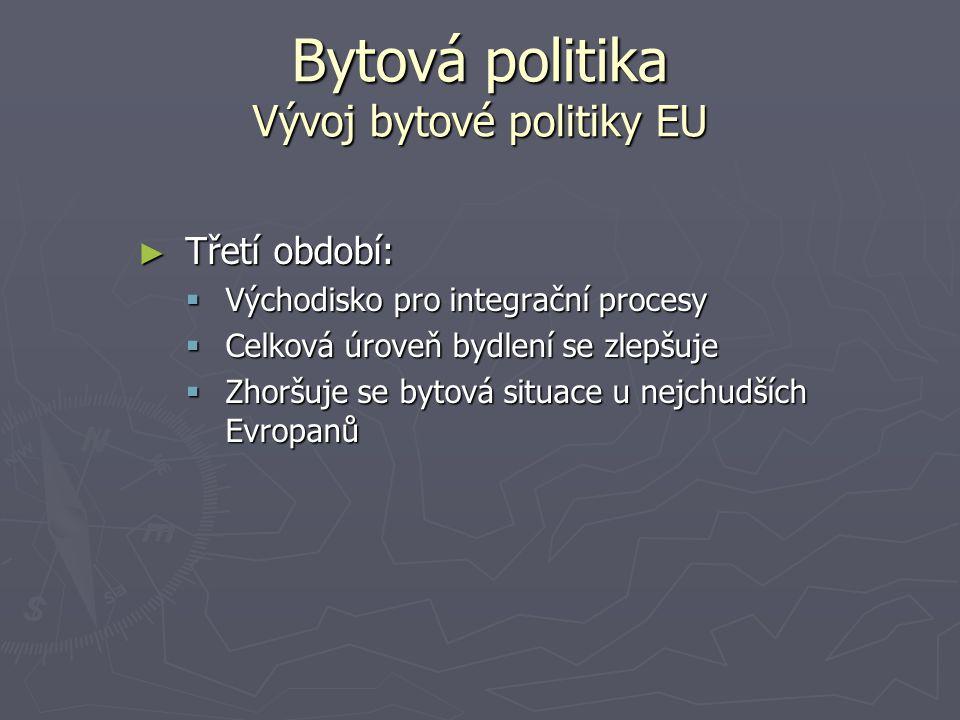 Bytová politika Vývoj bytové politiky EU ► Třetí období:  Východisko pro integrační procesy  Celková úroveň bydlení se zlepšuje  Zhoršuje se bytová