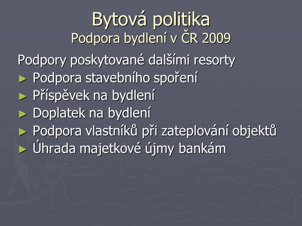 Bytová politika Podpora bydlení v ČR 2009 Podpory poskytované dalšími resorty ► Podpora stavebního spoření ► Příspěvek na bydlení ► Doplatek na bydlen