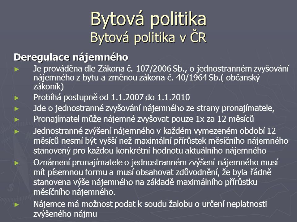 Bytová politika Bytová politika v ČR Deregulace nájemného ► ► Je prováděna dle Zákona č. 107/2006 Sb., o jednostranném zvyšování nájemného z bytu a zm