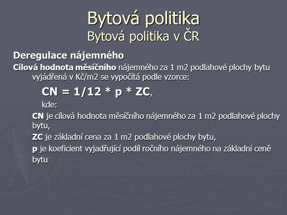 Bytová politika Bytová politika v ČR Deregulace nájemného Cílová hodnota měsíčního nájemného za 1 m2 podlahové plochy bytu vyjádřená v Kč/m2 se vypočí