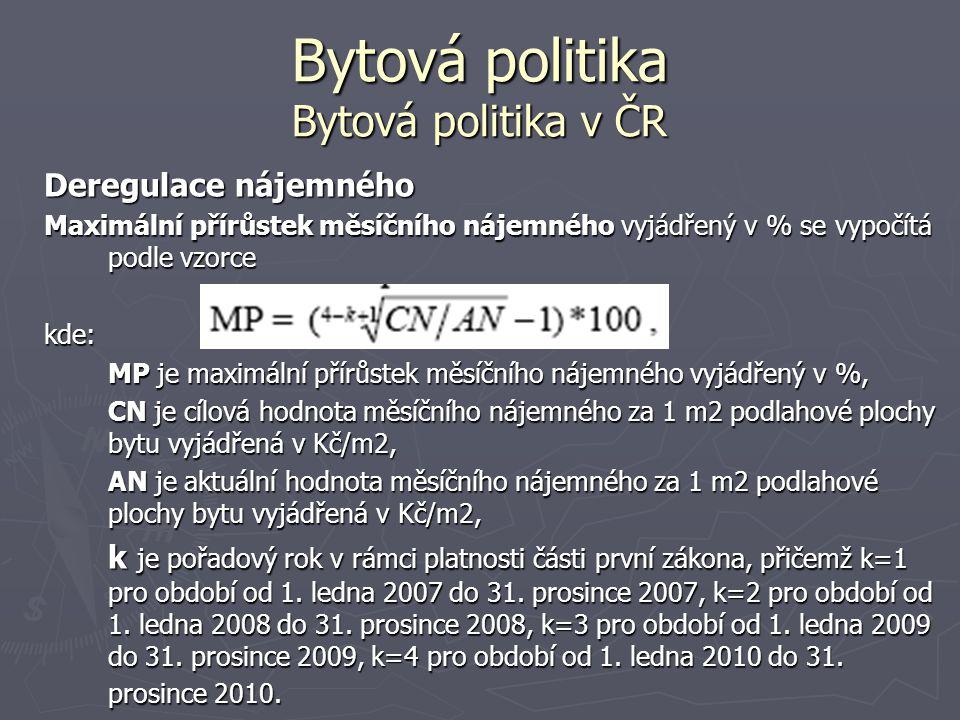 Bytová politika Bytová politika v ČR Deregulace nájemného Maximální přírůstek měsíčního nájemného vyjádřený v % se vypočítá podle vzorce kde: MP je ma