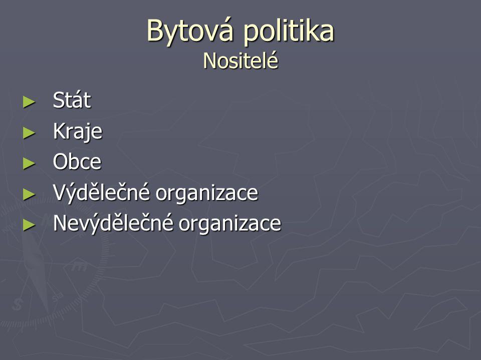 Bytová politika Bytová politika v ČR Od 50.let do 90.