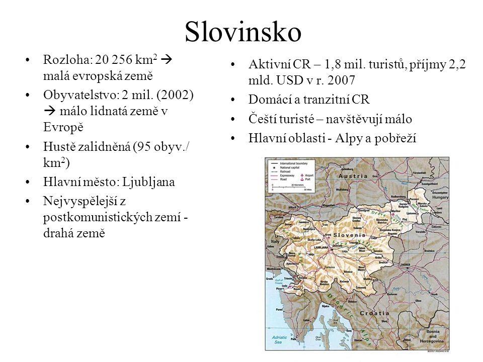Slovinsko Rozloha: 20 256 km 2  malá evropská země Obyvatelstvo: 2 mil. (2002)  málo lidnatá země v Evropě Hustě zalidněná (95 obyv./ km 2 ) Hlavní