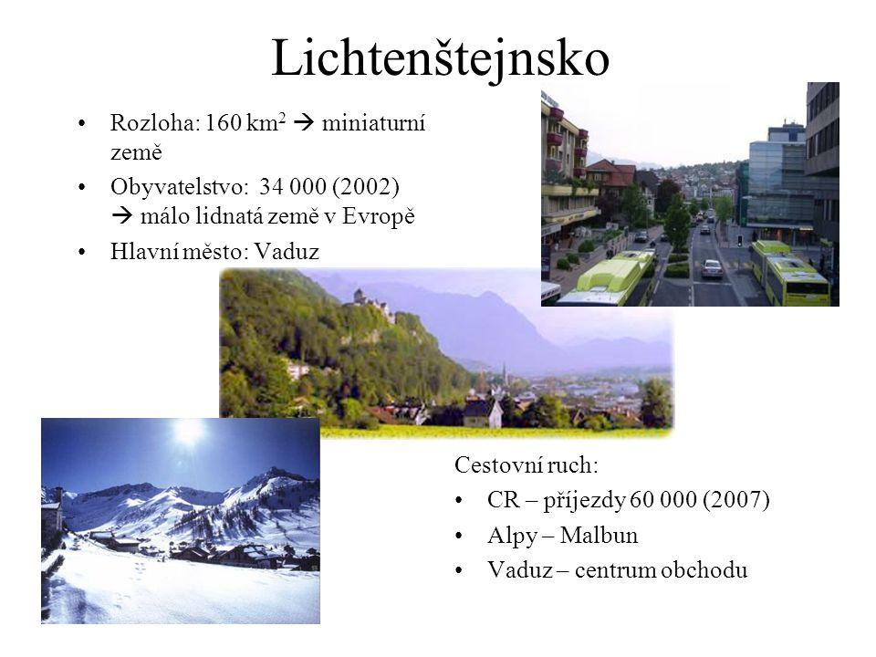 Lichtenštejnsko Rozloha: 160 km 2  miniaturní země Obyvatelstvo: 34 000 (2002)  málo lidnatá země v Evropě Hlavní město: Vaduz Cestovní ruch: CR – příjezdy 60 000 (2007) Alpy – Malbun Vaduz – centrum obchodu