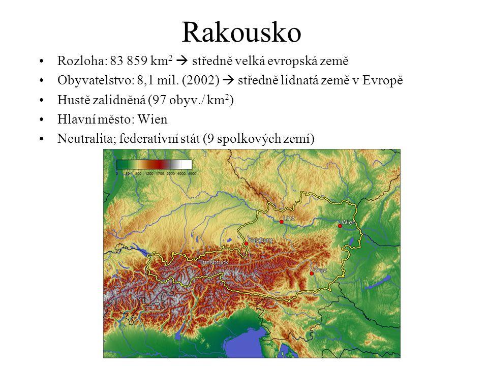 Rakousko Rozloha: 83 859 km 2  středně velká evropská země Obyvatelstvo: 8,1 mil. (2002)  středně lidnatá země v Evropě Hustě zalidněná (97 obyv./ k