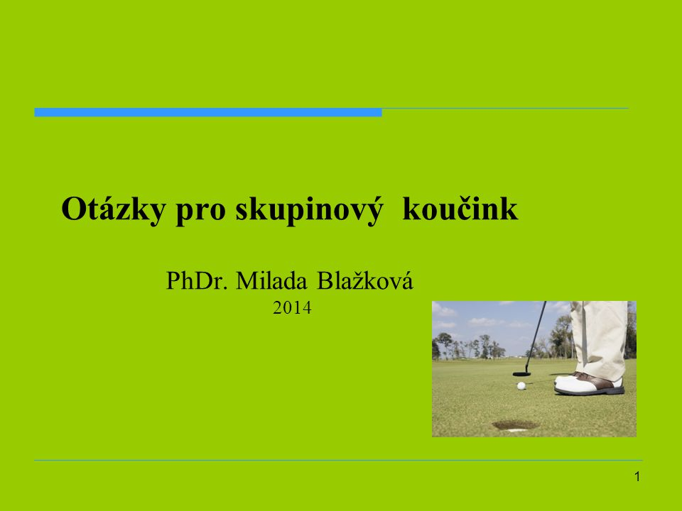 1 Otázky pro skupinový koučink PhDr. Milada Blažková 2014