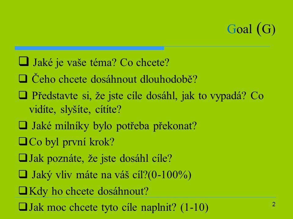 2 Goal ( G)  Jaké je vaše téma? Co chcete?  Čeho chcete dosáhnout dlouhodobě?  Představte si, že jste cíle dosáhl, jak to vypadá? Co vidíte, slyšít