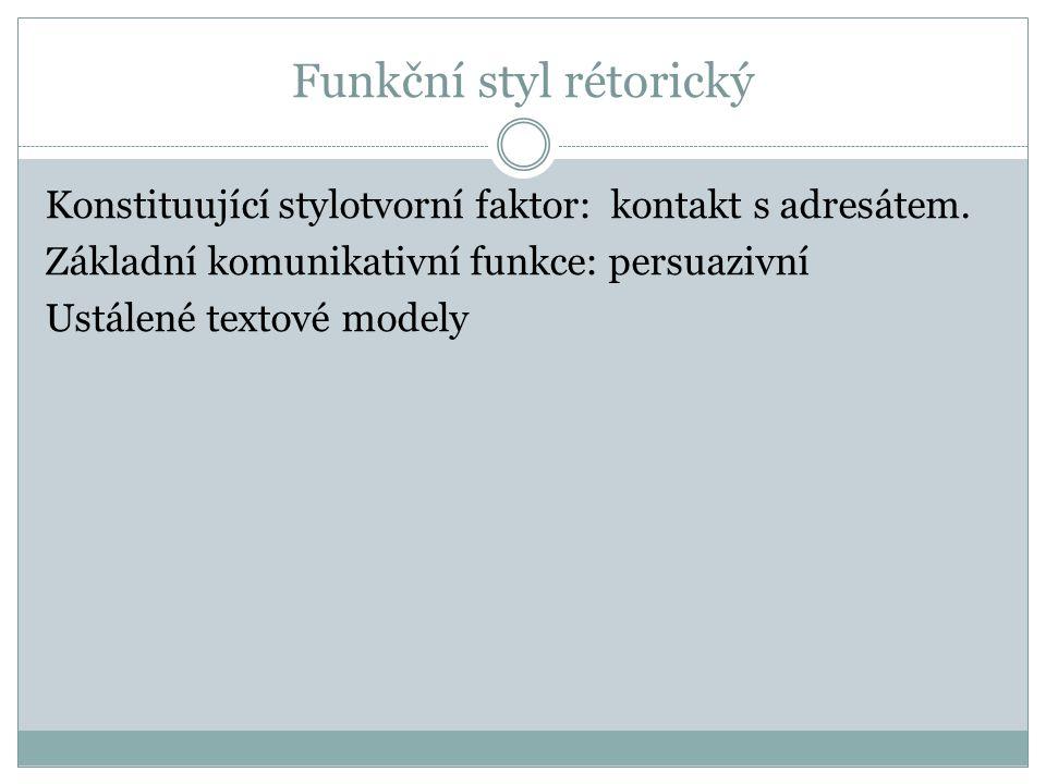 Konstituující stylotvorní faktor: kontakt s adresátem.