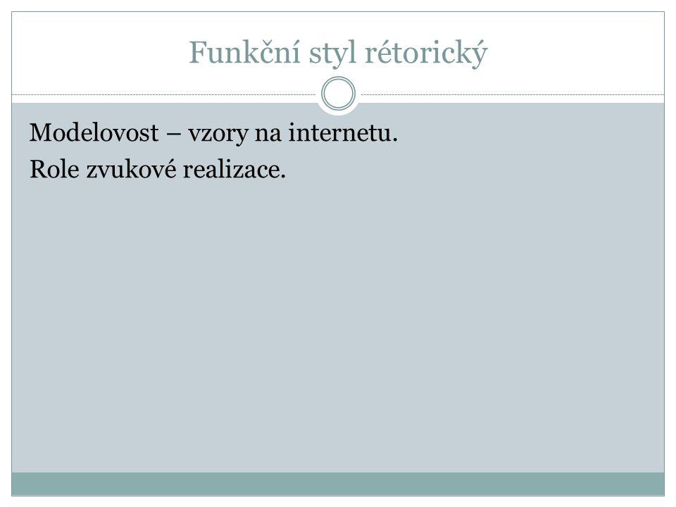 Funkční styl rétorický Modelovost – vzory na internetu. Role zvukové realizace.