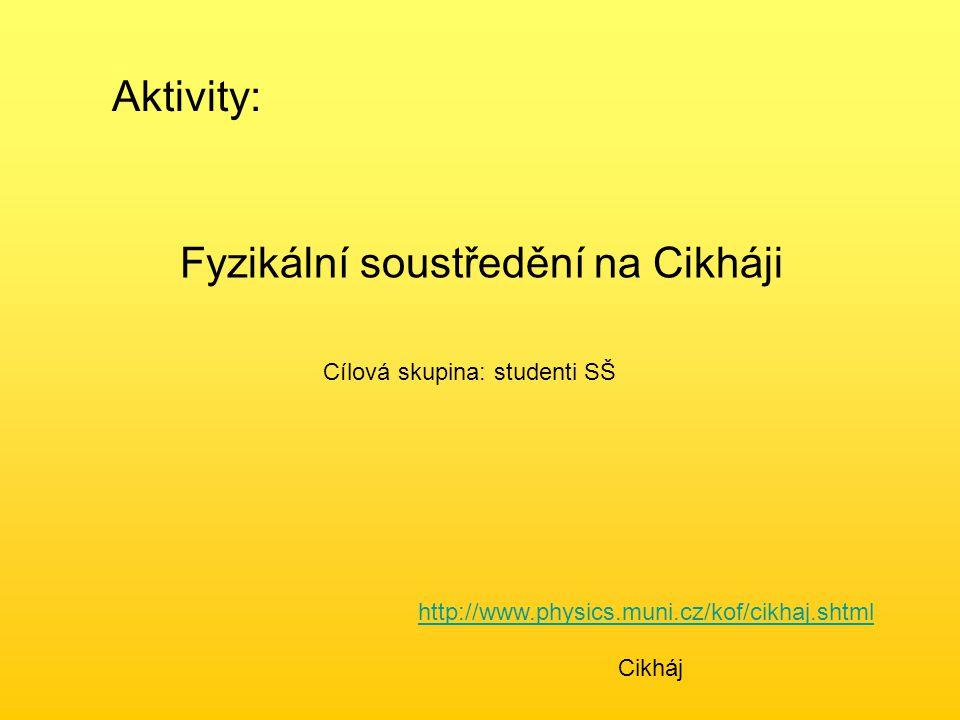 Aktivity: Fyzikální soustředění na Cikháji Cílová skupina: studenti SŠ http://www.physics.muni.cz/kof/cikhaj.shtml Cikháj
