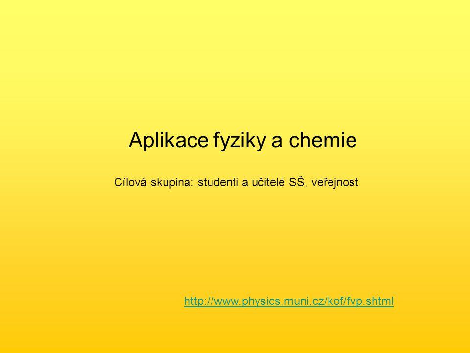 Aplikace fyziky a chemie Cílová skupina: studenti a učitelé SŠ, veřejnost http://www.physics.muni.cz/kof/fvp.shtml