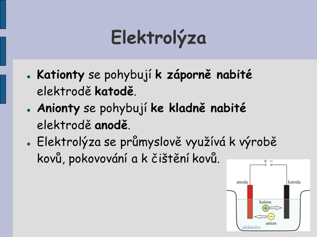 Elektrolýza Kationty se pohybují k záporně nabité elektrodě katodě. Anionty se pohybují ke kladně nabité elektrodě anodě. Elektrolýza se průmyslově vy