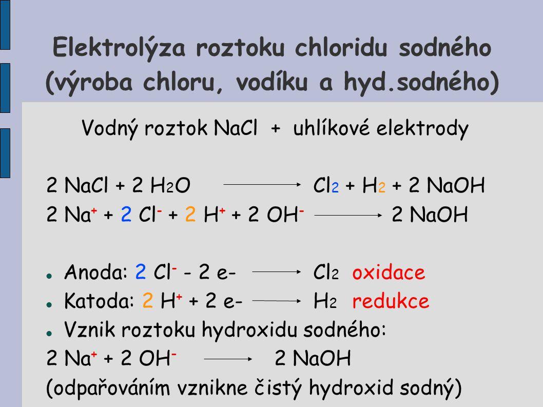 Elektrolýza roztoku chloridu sodného (výroba chloru, vodíku a hyd.sodného) Vodný roztok NaCl + uhlíkové elektrody 2 NaCl + 2 H 2 OCl 2 + H 2 + 2 NaOH