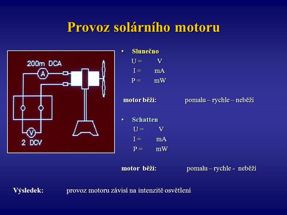 Provoz solárního motoru SlunečnoSlunečno U = V U = V I = mA I = mA P = mW P = mW motor běží: pomalu – rychle – neběží motor běží: pomalu – rychle – ne
