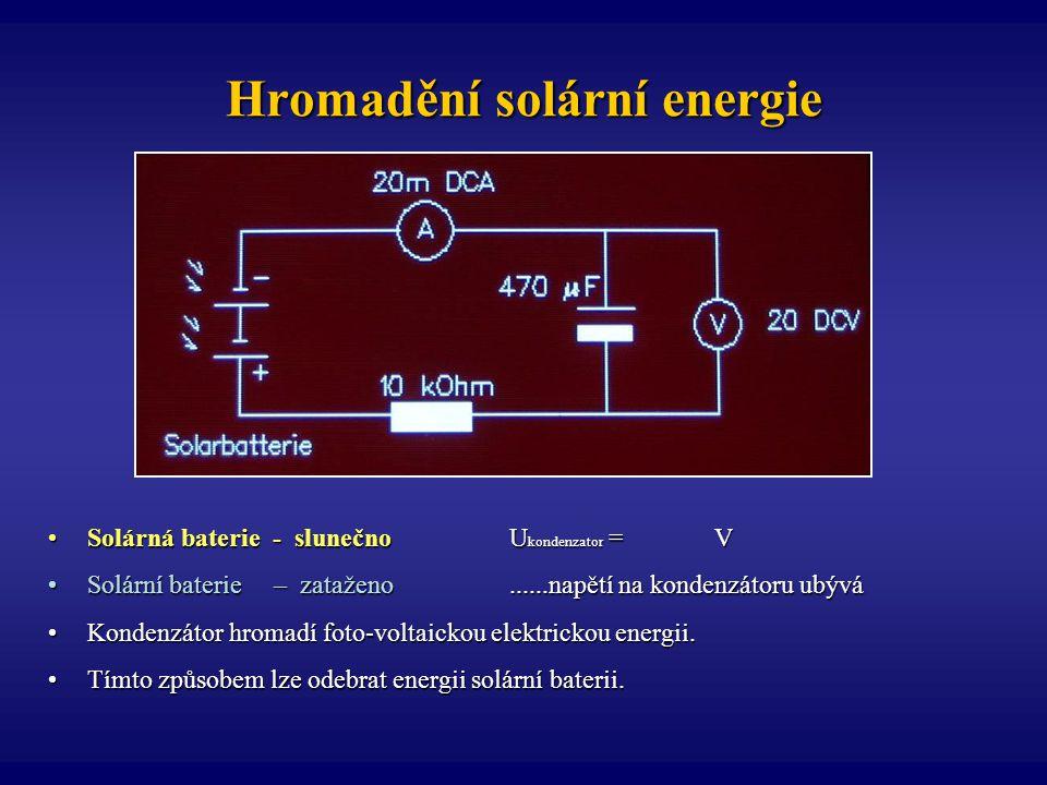 Hromadění solární energie Solárná baterie - slunečno U kondenzator = VSolárná baterie - slunečno U kondenzator = V Solární baterie – zataženo......nap