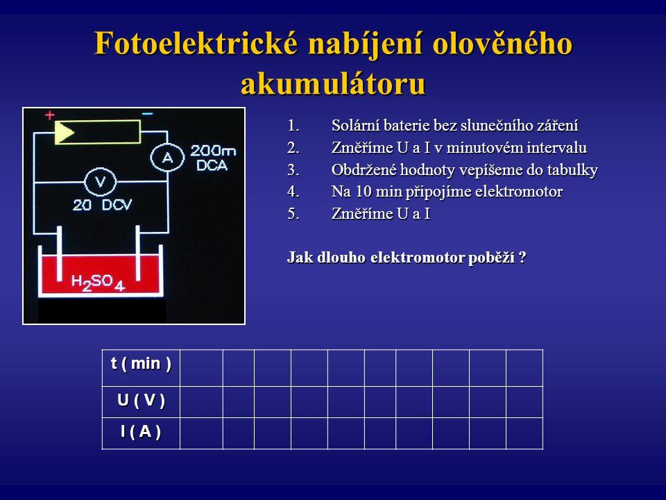 Fotoelektrické nabíjení olověného akumulátoru 1.Solární baterie bez slunečního záření 2.Změříme U a I v minutovém intervalu 3.Obdržené hodnoty vepíšem