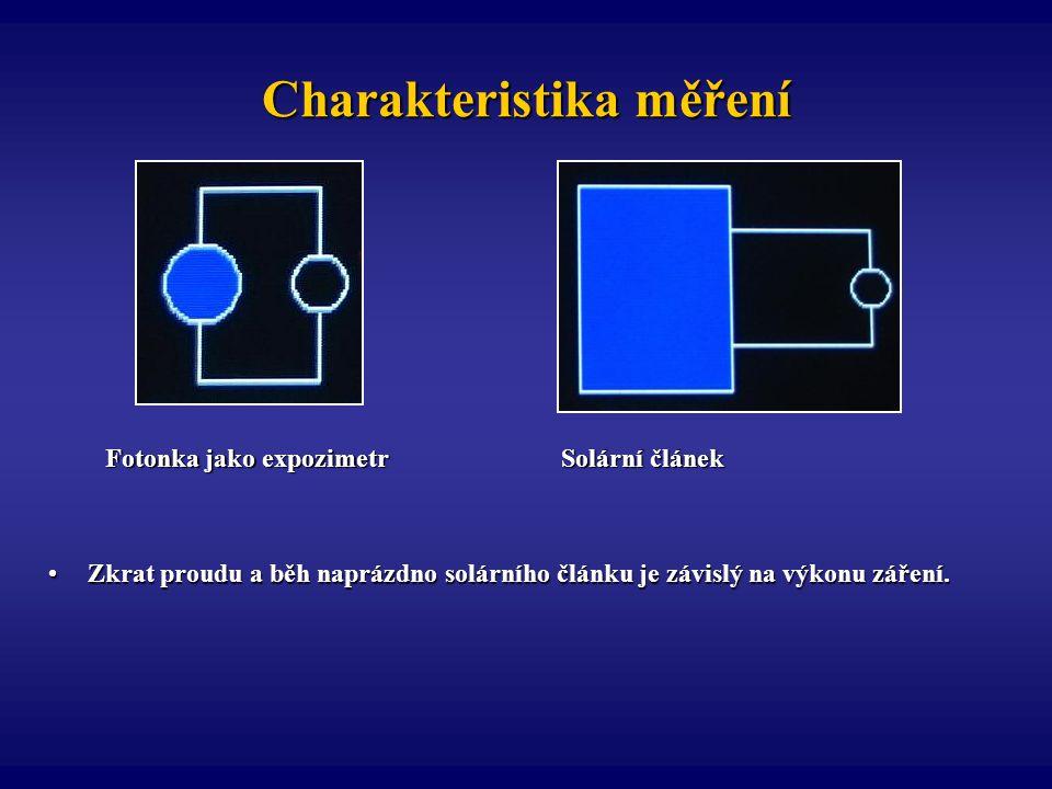 Charakteristika měření Fotonka jako expozimetr Solární článek Zkrat proudu a běh naprázdno solárního článku je závislý na výkonu záření.Zkrat proudu a
