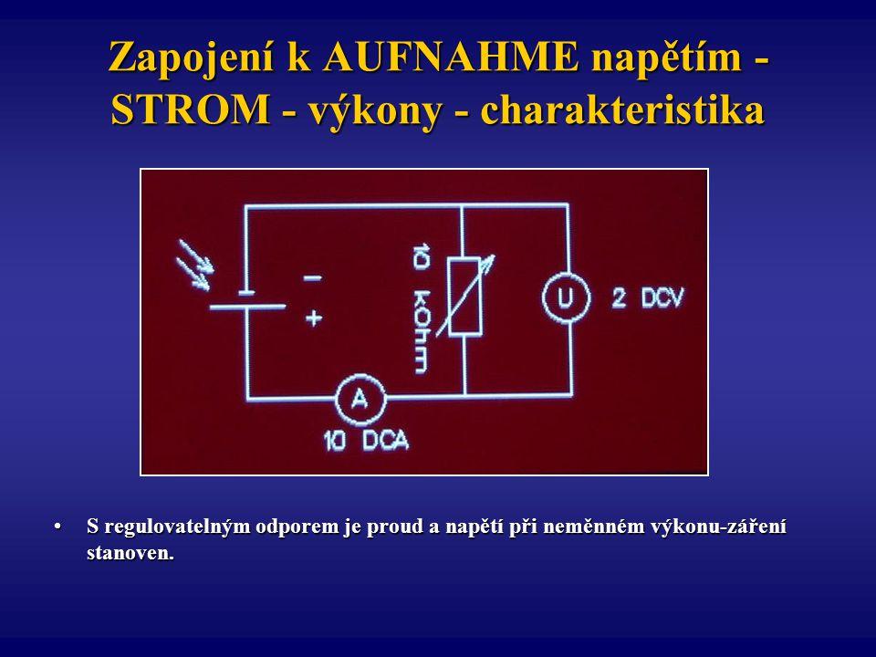 Zapojení k AUFNAHME napětím - STROM - výkony - charakteristika S regulovatelným odporem je proud a napětí při neměnném výkonu-záření stanoven.S regulo