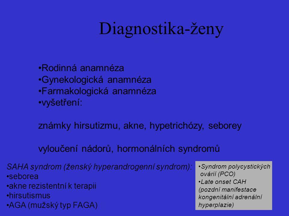 Diagnostika-ženy Rodinná anamnéza Gynekologická anamnéza Farmakologická anamnéza vyšetření: známky hirsutizmu, akne, hypetrichózy, seborey vyloučení nádorů, hormonálních syndromů SAHA syndrom (ženský hyperandrogenní syndrom): seborea akne rezistentní k terapii hirsutismus AGA (mužský typ FAGA) Syndrom polycystických ovárií (PCO) Late onset CAH (pozdní manifestace kongenitální adrenální hyperplazie)