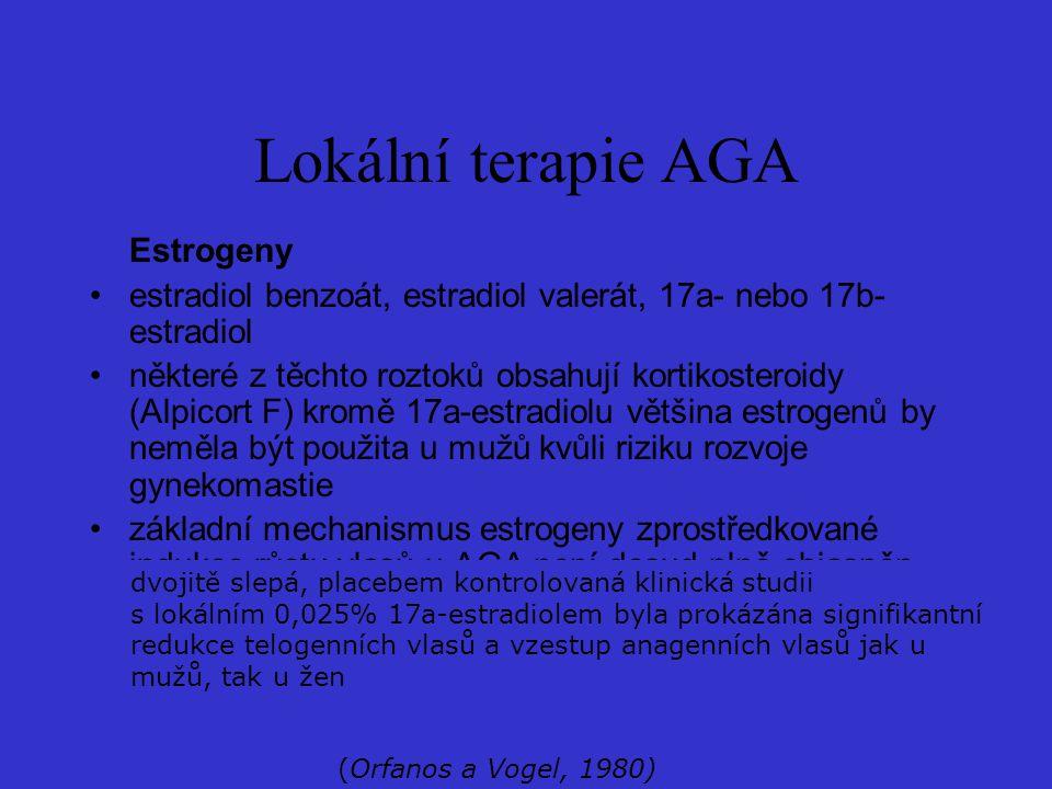 Estrogeny estradiol benzoát, estradiol valerát, 17a- nebo 17b- estradiol některé z těchto roztoků obsahují kortikosteroidy (Alpicort F) kromě 17a-estr