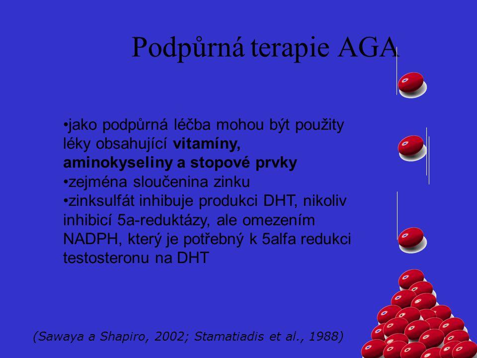 Podpůrná terapie AGA jako podpůrná léčba mohou být použity léky obsahující vitamíny, aminokyseliny a stopové prvky zejména sloučenina zinku zinksulfát inhibuje produkci DHT, nikoliv inhibicí 5a-reduktázy, ale omezením NADPH, který je potřebný k 5alfa redukci testosteronu na DHT (Sawaya a Shapiro, 2002; Stamatiadis et al., 1988)