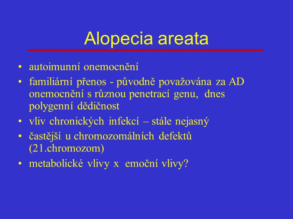 Alopecia areata autoimunní onemocnění familiární přenos - původně považována za AD onemocnění s různou penetrací genu, dnes polygenní dědičnost vliv chronických infekcí – stále nejasný častější u chromozomálních defektů (21.chromozom) metabolické vlivy x emoční vlivy?