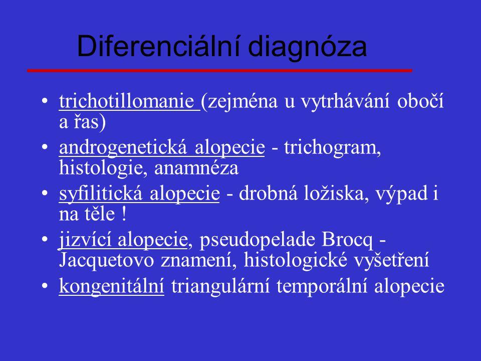 Diferenciální diagnóza trichotillomanie (zejména u vytrhávání obočí a řas) androgenetická alopecie - trichogram, histologie, anamnéza syfilitická alop