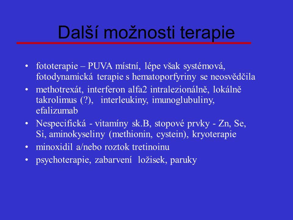 Další možnosti terapie fototerapie – PUVA místní, lépe však systémová, fotodynamická terapie s hematoporfyriny se neosvědčila methotrexát, interferon alfa2 intralezionálně, lokálně takrolimus (?), interleukiny, imunoglubuliny, efalizumab Nespecifická - vitamíny sk.B, stopové prvky - Zn, Se, Si, aminokyseliny (methionin, cystein), kryoterapie minoxidil a/nebo roztok tretinoinu psychoterapie, zabarvení ložisek, paruky
