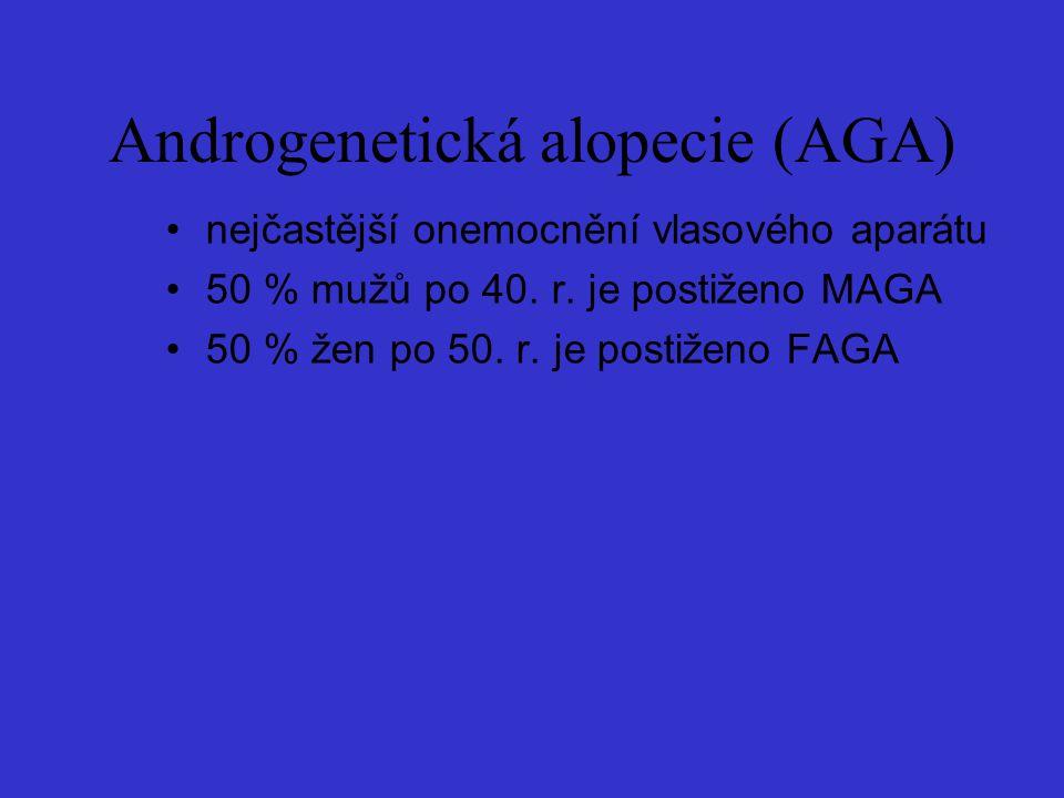Androgenetická alopecie (AGA) nejčastější onemocnění vlasového aparátu 50 % mužů po 40. r. je postiženo MAGA 50 % žen po 50. r. je postiženo FAGA